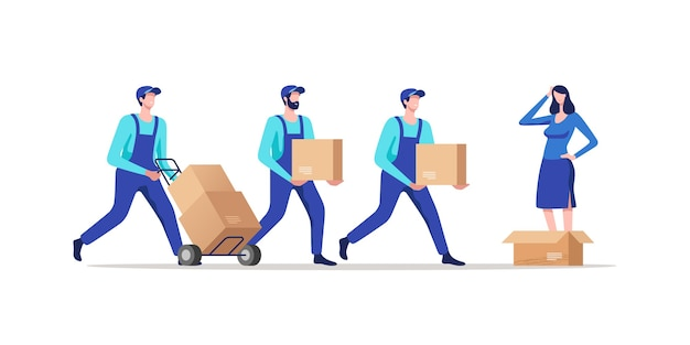 Serviço de entrega movers uniformizados transportando caixas de papelão