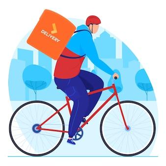 Serviço de entrega. o mensageiro faz uma pausa na bicicleta.