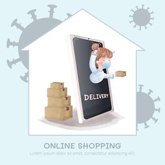 Serviço de entrega on-line, a linda garota enviou um pacote após a ordem das compras on-line por causa do surto de covid-19.