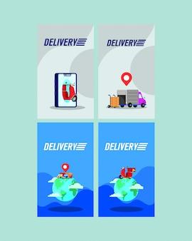 Serviço de entrega on-line conjunto de ícones