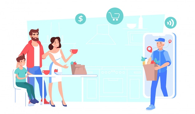 Serviço de entrega on-line de alimentos comprados