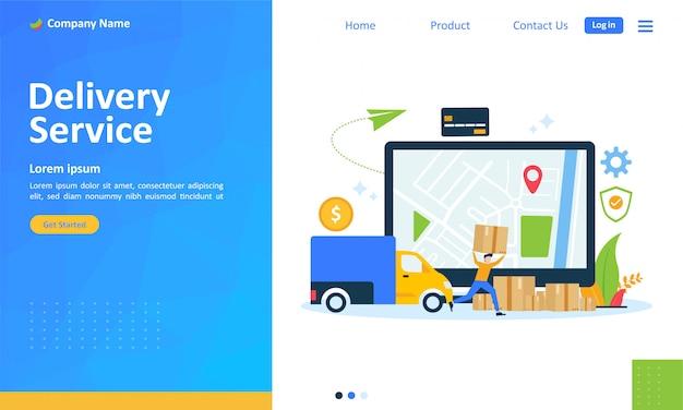 Serviço de entrega on-line para página de destino da web