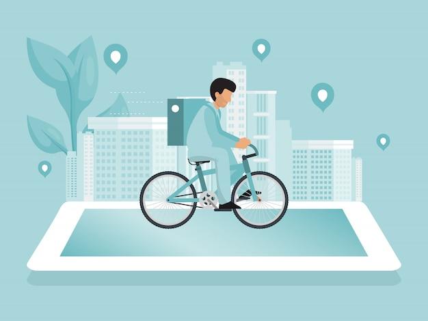 Serviço de entrega online. paisagem urbana com correio de comida dirigindo bicicleta entrega rápida