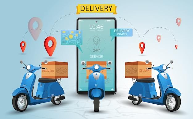 Serviço de entrega online por scooter. site de compras em um celular. conceito de pedido de comida. banner da web, modelo de aplicativo. ilustração