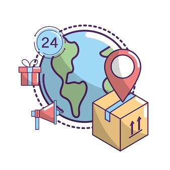 Serviço de entrega para a localização do pacote de transporte