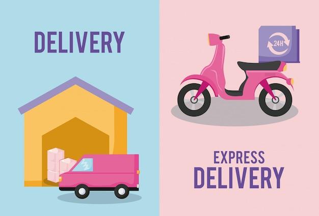 Serviço de entrega van carro com motocicleta