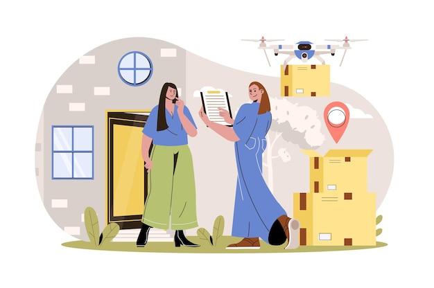 Serviço de entrega web conceito mulher correio entrega pacotes para o cliente em casa drone voa com caixa