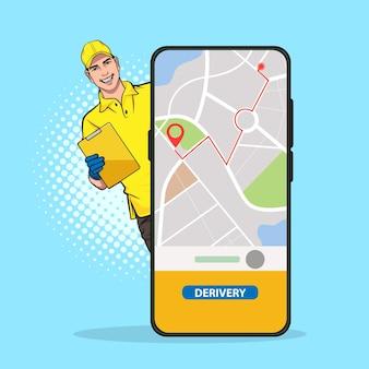 Serviço de entregador de celular com navegador pop art comic style