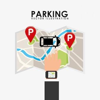 Serviço de estacionamento, mapa de toque