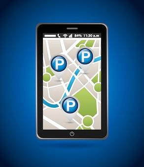 Serviço de estacionamento, mapa móvel
