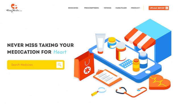 Serviço de farmácia on-line com vista isométrica da loja médica