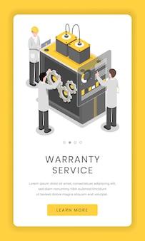 Serviço de garantia, tela de aplicativo móvel de reparação. pesquisadores de software e hardware resolvem problemas