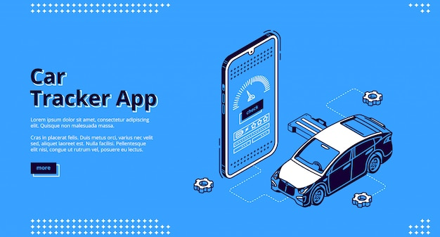 Serviço de gps isométrico da página de destino do aplicativo rastreador de carros