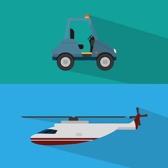 Serviço de helicóptero e carrinho de aeroporto