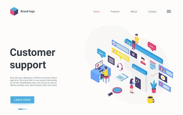 Serviço de helpdesk on-line para página de destino isométrica de conceito de centro de linha direta de suporte ao cliente