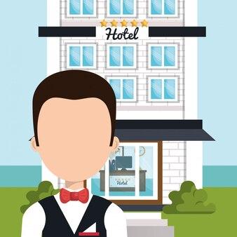 Serviço de hotel garçom isolado