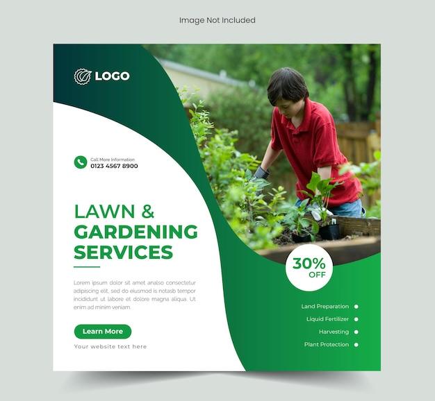 Serviço de jardim de gramado ou mídia social de agricultura pós banner e modelo de banner da web de fazenda