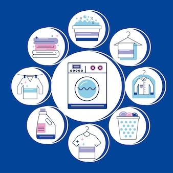 Serviço de lavanderia com ícones ao redor