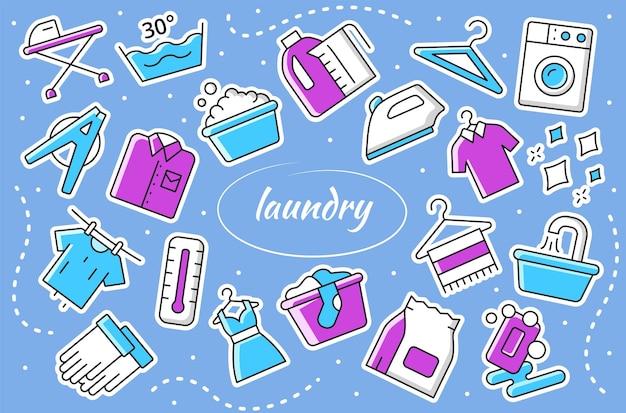 Serviço de lavanderia - conjunto de adesivos. coleção de vetores de placa de lavagem.