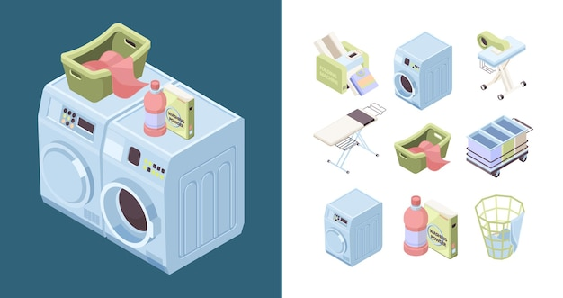 Serviço de lavanderia. detergente em pó sabão ferro toalha limpeza ferramentas de lavagem isométrica
