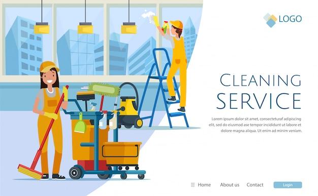 Serviço de limpeza com design do site dos trabalhadores,
