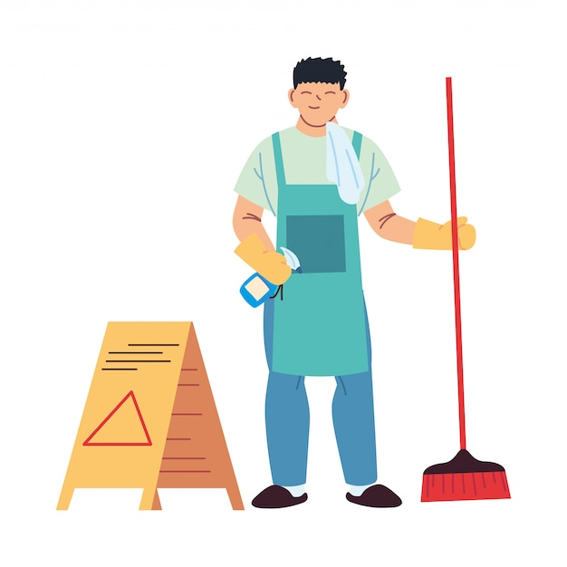 Serviço de limpeza com luvas e utensílios de limpeza