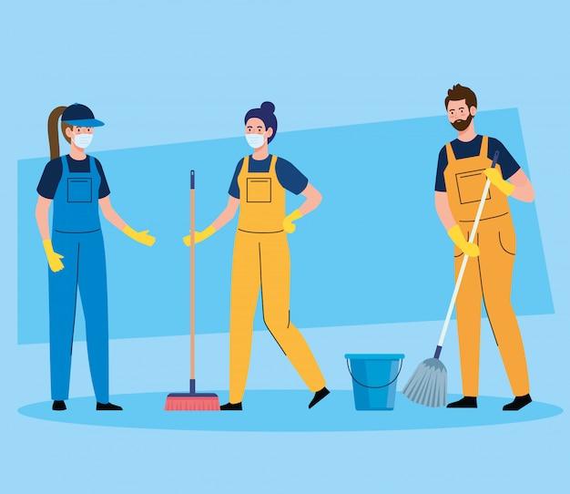Serviço de limpeza de equipe de zeladores, produtos de limpeza de pessoas usando máscara médica, de uniforme, trabalhando com equipamentos profissionais de design de ilustração vetorial mais limpo