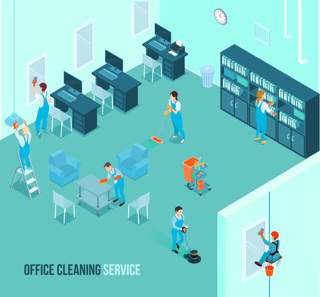 Serviço de limpeza de escritório profissional isométrico