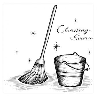 Serviço de limpeza desenhado à mão