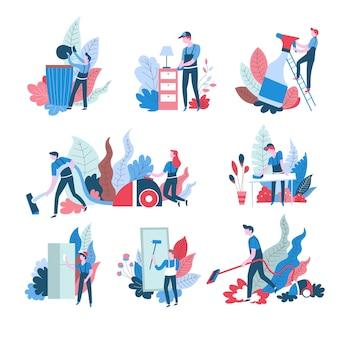 Serviço de limpeza doméstica ícones isolados abstratos homens e mulheres eletrodomésticos jogando lixo fora e limpando a poeira, lavando janela e aspirador de pó planta deixa trabalho doméstico limpeza