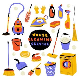 Serviço de limpeza, doodle fofo com letras.