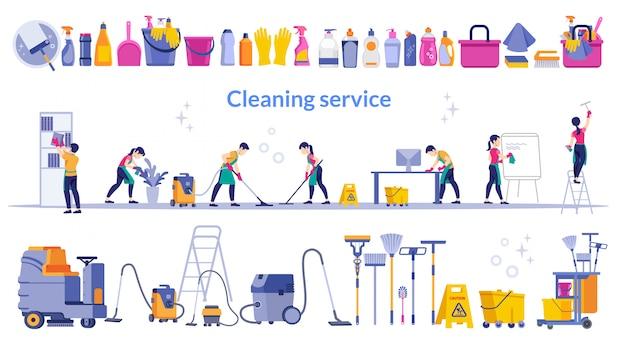 Serviço de limpeza. equipe de serviço de limpeza, trabalhando no escritório e uma ferramenta de limpeza de conjunto grande.