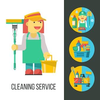 Serviço de limpeza. faxineira com mop e balde na mão. conjunto de produtos de limpeza