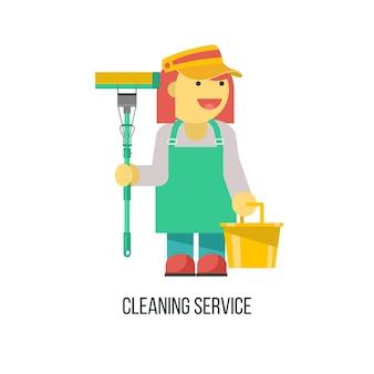 Serviço de limpeza. faxineira com mop e balde na mão.