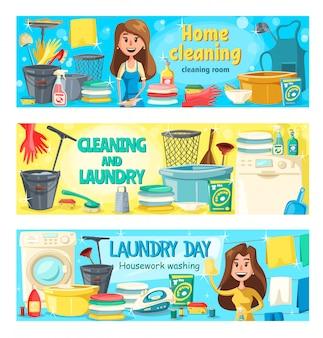 Serviço de limpeza, lavanderia e lavagem de casa