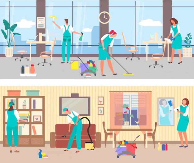 Serviço de limpeza, limpeza profissional no escritório e em casa. aspirador de pó do sofá, lavando janelas.