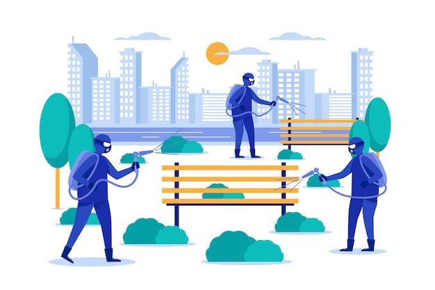 Serviço de limpeza no conceito de espaços públicos