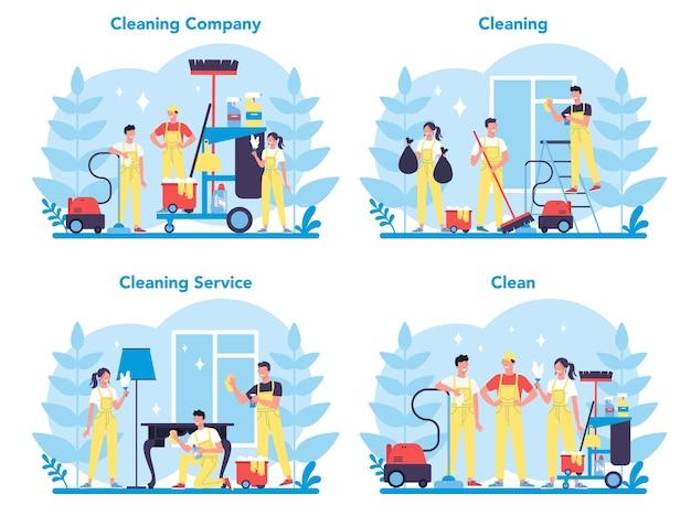 Serviço de limpeza ou conjunto da empresa. coleção de mulher e homem fazendo trabalho doméstico. ocupação profissional. zelador lavando chão e móveis.