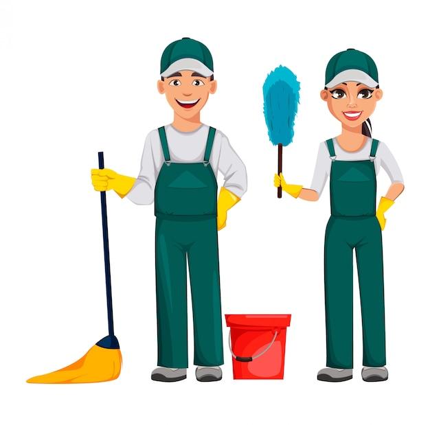 Serviço de limpeza. personagens de desenhos animados alegres