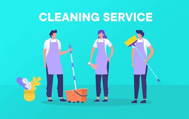 Serviço de limpeza profissional com conceito de ilustração, homem e mulher trabalhando em conjunto com o design de equipamentos de limpeza
