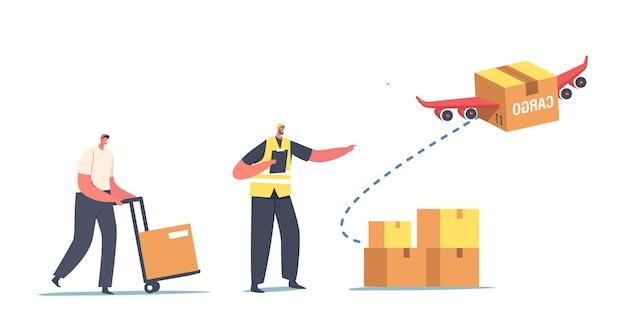 Serviço de logística de transporte aéreo, importação ou exportação de mercadorias. caracteres do carregador carregando caixas para transporte aéreo e entrega de frete ao cliente