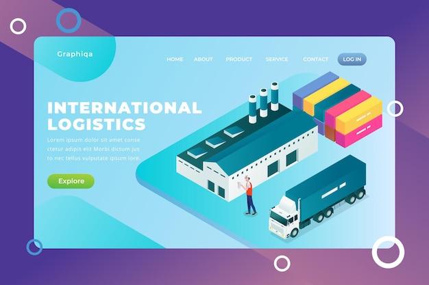 Serviço de logística internacional - página de destino do vetor