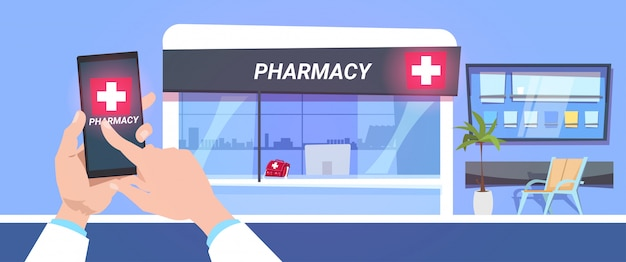 Serviço de loja de farmácia on-line mão segure o telefone inteligente