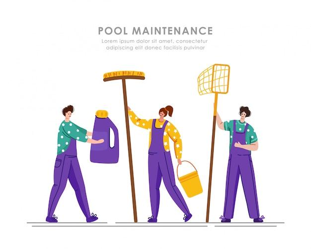 Serviço de manutenção ou limpeza de piscinas, grupo de pessoas de uniforme, produtos de limpeza para piscinas