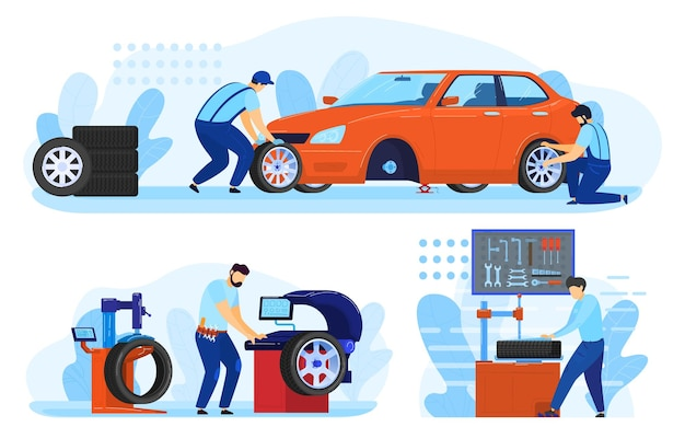 Serviço de mecânico de automóveis de manutenção de pneus, conjunto de reparação de automóveis de ilustração.