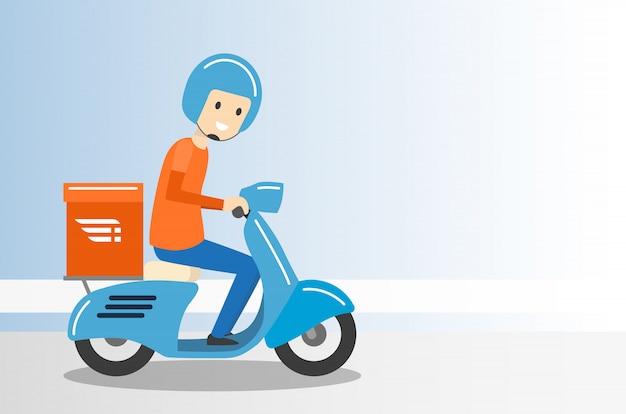 Serviço de moto entrega menino passeio scooter - ilustração vetorial
