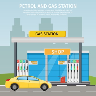 Serviço de óleo de ilustração plana de posto de gasolina