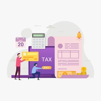 Serviço de pagamento de impostos on-line através da ilustração de computadores