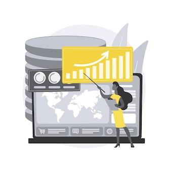 Serviço de painel. mecanismo de relatório online, indicadores-chave de desempenho, ferramenta de serviço de painel, métricas de dados, gerenciamento de informações. Vetor Premium