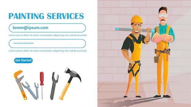 Serviço de pintura de parede, trabalhadores manuais com equipamentos.